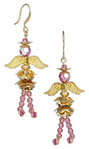 Earrings with Swarovski Crystal Beads, Gold-Plated Beads and Metal Bead Caps