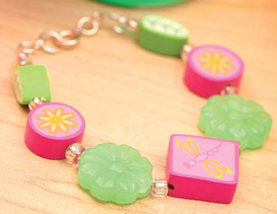 Projects - Bracelet with Polymer Clay Beads and Glass Beads