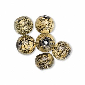 24kt gold-foil lined glass beads, black/gold, round, 10mm. sold per pkg of 6.