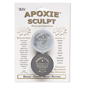 Adhesive, Apoxie® Sculpt, epoxy and polymer resin, black. Sold per 1/4 pound pkg.