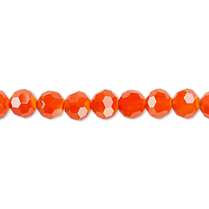 Bead, Celestial Crystal®, 32-facet, opaque orange, 6mm faceted round. Sold per 16-inch strand.