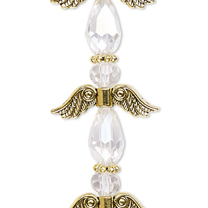 "Bead, Celestial Crystal® and antique gold-finished ""pewter"" (zinc-based alloy), clear AB, 23mm angel. Sold per pkg of 4."
