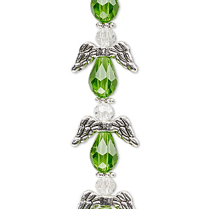 "Bead, Celestial Crystal® and antique silver-plated ""pewter"" (zinc-based alloy), lime green and clear, 17x14mm angel with 0.8-1.5mm hole. Sold per pkg of 6."