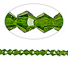 Bead, Celestial Crystal®, glass, 16-facet, emerald green, 4mm faceted bicone. Sold per 16-inch strand.