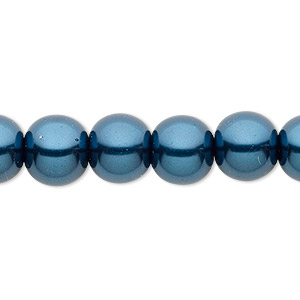 Bead, Celestial Crystal®, glass pearl, teal, 10mm round. Sold per pkg of (2) 16-inch strands.