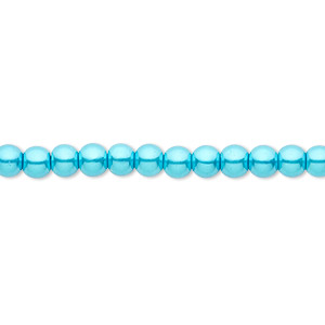 Bead, Celestial Crystal®, glass pearl, turquoise blue, 4mm round. Sold per pkg of (2) 16-inch strands.