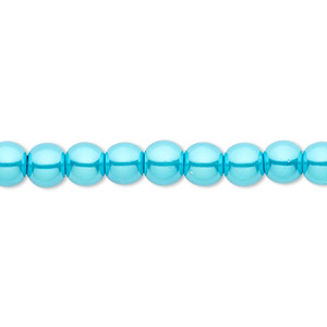 Bead, Celestial Crystal®, glass pearl, turquoise blue, 6mm round. Sold per pkg of (2) 16-inch strands.