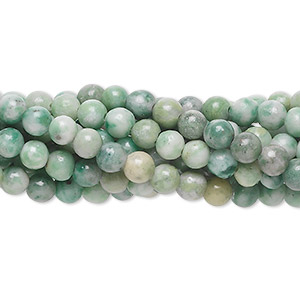 "Bead, Ching Hai ""jade"" (natural), 4mm round, C grade, Mohs hardness 3-1/2 to 4. Sold per pkg of (10) 16-inch strands."