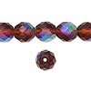 Bead, Czech fire-polished glass, brown matte AB, 10mm faceted round. Sold per 16-inch strand.