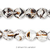 Bead, Czech fire-polished glass, clear / black / brown, 10mm faceted round. Sold per pkg of 600 (1/2 mass).