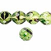 Bead, Czech fire-polished glass, green and brown, 12mm faceted round. Sold per pkg of 600 (1/2 mass).