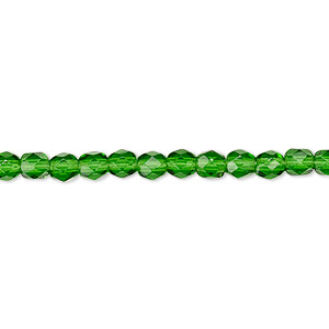 Bead, Czech fire-polished glass, transparent emerald green, 4mm faceted round. Sold per 16-inch strand, approximately 100 beads.