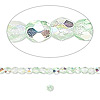 Bead, Czech fire-polished glass, two-tone, crystal / green AB, 3mm faceted round. Sold per pkg of 1 mass.