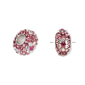 Bead, Dione®, Czech glass rhinestone / epoxy / imitation rhodium-plated brass grommet, pink / clear / dark pink, 13x8mm-14x8mm rondelle with flower design, 4.5mm hole. Sold individually.