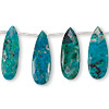 Bead, Peruvian chrysocolla (stabilized), 20x8mm-27x10mm graduated hand-cut faceted flat teardrop, B grade. Sold per 8-inch strand, approximately 15 beads.