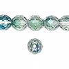 Bead, Preciosa Czech fire-polished glass, green/teal, 10mm faceted round. Sold per pkg of 600 (1/2 mass).