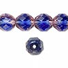 Bead, Preciosa Czech fire-polished glass, two-tone, blue/pink, 12mm faceted round. Sold per pkg of 600 (1/2 mass).