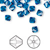 Bead, Swarovski crystal, Capri blue, 6mm Xilion bicone (5328). Sold per pkg of 24.