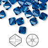Bead, Swarovski crystal, Capri blue, 8mm Xilion bicone (5328). Sold per pkg of 72.