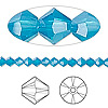 Bead, Swarovski crystal, Caribbean blue opal, 4mm Xilion bicone (5328). Sold per pkg of 1,440 (10 gross).