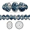 Bead, Swarovski crystal, Crystal Blend Colors, Crystal Passions®, crystal clear and Montana, 8x6mm faceted rondelle (5040). Sold per pkg of 144 (1 gross).