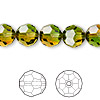 Bead, Swarovski crystal, Crystal Blend Colors, Crystal Passions®, fern green and topaz, 10mm faceted round (5000). Sold per pkg of 24.