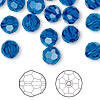 Bead, Swarovski crystal, Crystal Passions®, Capri blue, 8mm faceted round (5000). Sold per pkg of 144 (1 gross).