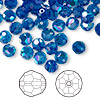Bead, Swarovski crystal, Crystal Passions®, Capri blue AB, 6mm faceted round (5000). Sold per pkg of 144 (1 gross).