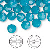 Bead, Swarovski crystal, Crystal Passions®, Caribbean blue opal, 8mm faceted round (5000). Sold per pkg of 144 (1 gross).