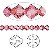 Bead, Swarovski crystal, Crystal Passions®, Indian pink, 5mm faceted bicone (5301). Sold per pkg of 24.