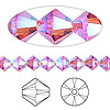 Bead, Swarovski crystal, Crystal Passions®, Indian pink AB2X, 6mm Xilion bicone (5328). Sold per pkg of 24.