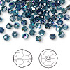 Bead, Swarovski crystal, Crystal Passions®, Montana AB, 4mm faceted round (5000). Sold per pkg of 12.