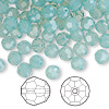 Bead, Swarovski crystal, Crystal Passions®, Pacific opal, 6mm faceted round (5000). Sold per pkg of 144 (1 gross).
