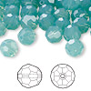 Bead, Swarovski crystal, Crystal Passions®, Pacific opal, 8mm faceted round (5000). Sold per pkg of 144 (1 gross).