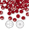 Bead, Swarovski crystal, Crystal Passions®, Siam, 6mm faceted round (5000). Sold per pkg of 144 (1 gross).