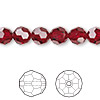 Bead, Swarovski crystal, Crystal Passions®, Siam, 8mm faceted round (5000). Sold per pkg of 12.