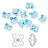 Bead, Swarovski crystal, Crystal Passions®, aquamarine, 10x9mm faceted butterfly (5754). Sold per pkg of 48.