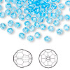 Bead, Swarovski crystal, Crystal Passions®, aquamarine, 4mm faceted round (5000). Sold per pkg of 144 (1 gross).