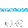 Bead, Swarovski crystal, Crystal Passions®, aquamarine, 6mm faceted round (5000). Sold per pkg of 12.