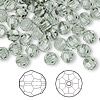 Bead, Swarovski crystal, Crystal Passions®, black diamond, 6mm faceted round (5000). Sold per pkg of 144 (1 gross).