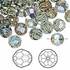 Bead, Swarovski crystal, Crystal Passions®, black diamond AB, 8mm faceted round (5000). Sold per pkg of 144 (1 gross).