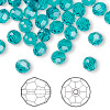 Bead, Swarovski crystal, Crystal Passions®, blue zircon, 6mm faceted round (5000). Sold per pkg of 144 (1 gross).