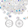 Bead, Swarovski crystal, Crystal Passions®, crystal AB, 4mm faceted round (5000). Sold per pkg of 720 (5 gross).