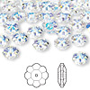 Bead, Swarovski crystal, Crystal Passions®, crystal AB, 8x3mm faceted marguerite lochrose flower (3700). Sold per pkg of 144 (1 gross).