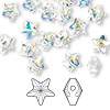 Bead, Swarovski crystal, Crystal Passions®, crystal AB, 8x8mm faceted star (5714). Sold per pkg of 24.