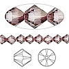 Bead, Swarovski crystal, Crystal Passions®, crystal antique pink, 6mm Xilion bicone (5328). Sold per pkg of 144 (1 gross).