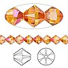 Bead, Swarovski crystal, Crystal Passions®, crystal astral pink, 6mm Xilion bicone (5328). Sold per pkg of 24.