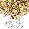 Bead, Swarovski crystal, Crystal Passions®, crystal aurum 2X, 6mm Xilion bicone (5328). Sold per pkg of 144 (1 gross).