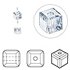Bead, Swarovski crystal, Crystal Passions®, crystal blue shade, 4x4mm faceted cube (5601). Sold per pkg of 48.