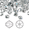 Bead, Swarovski crystal, Crystal Passions®, crystal comet argent light, 6mm Xilion bicone (5328). Sold per pkg of 144 (1 gross).
